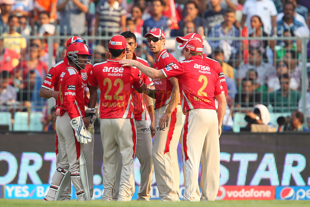 Kings XI Punjab celebrate the wicket of Robin Uthappa of the Kolkata Knight Riders during the first qualifier match (QF1) of the Pepsi Indian Premier League Season 2014 between the Kings XI Punjab and the Kolkata Knight Riders held at the Eden Gardens Cricket Stadium, Kolkata, India on the 28th May  2014<br /> <br /> Photo by Ron Gaunt / IPL / SPORTZPICS<br /> <br /> <br /> <br /> Image use subject to terms and conditions which can be found here:  http://sportzpics.photoshelter.com/gallery/Pepsi-IPL-Image-terms-and-conditions/G00004VW1IVJ.gB0/C0000TScjhBM6ikg