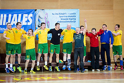Players of RD Loka celebrate during the handball match between RD Loka and RK Slovenj Gradec in 21st Round of 1B DRL  league 2013/14 on May 10, 2014, in Sportna dvorana Poden, Skofja Loka, Slovenia. Photo by Vid Ponikvar / Sportida