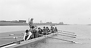 Nottingham. United Kingdom. Coach, Ron NEEDS, checks hid lightweight men's Eight before they leave the boating pontoon, <br />