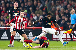 Fred of Manchester United is fouled Chris Basham of Sheffield United - Mandatory by-line: Robbie Stephenson/JMP - 24/11/2019 - FOOTBALL - Bramall Lane - Sheffield, England - Sheffield United v Manchester United - Premier League