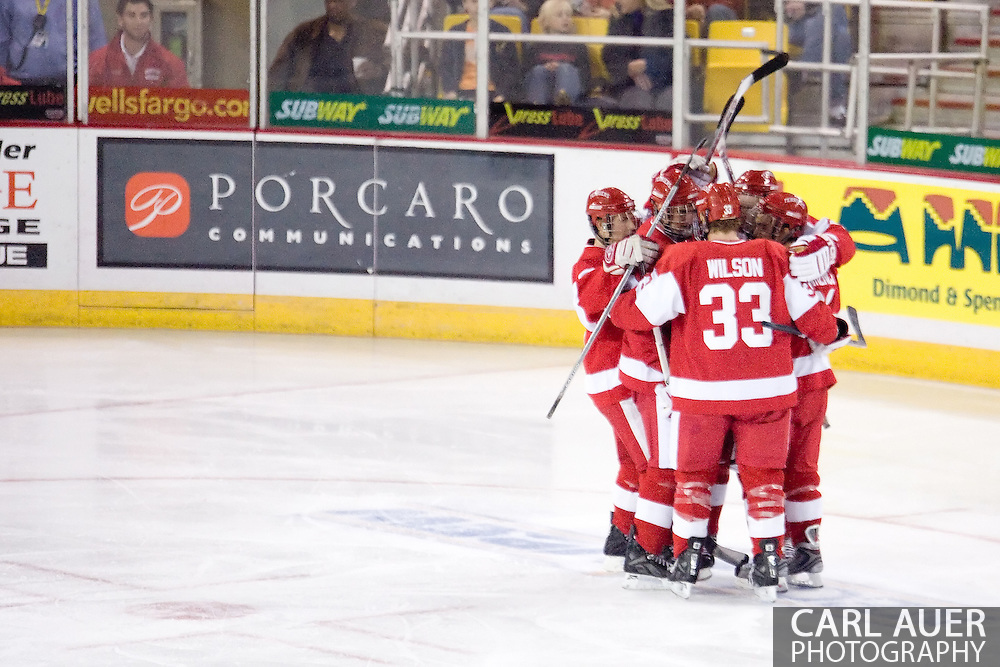 October 13, 2007 - Anchorage, Alaska:  Boston University celebrates a goal against the University of Alaska-Anchorage during game 4 of the Nye Frontier Classic at the Sullivan Arena.  UAA and BU would tie 4-4 giving Robert Morris University the title of Nye Frontier Classic Champion.