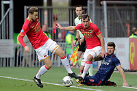 (L-R), *Teun Koopmeiners* of AZ Alkmaar, *Stijn Wuytens* of AZ Alkmaar, *Klaas Jan Huntelaar* of Ajax