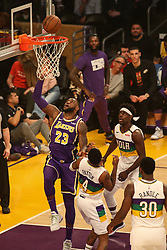 February 27, 2019 - Los Angeles, CA, U.S. - LOS ANGELES, CA - FEBRUARY 27: Los Angeles Lakers Forward LeBron James (23) watches his shot fall during the first half of the New Orleans Pelicans versus Los Angeles Lakers game on February 27, 2019, at Staples Center in Los Angeles, CA. (Photo by Icon Sportswire) (Credit Image: © Icon Sportswire/Icon SMI via ZUMA Press)