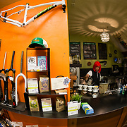 Evangelian Berning brewing up potent coffee at the Fitzgerald's Bike Shop in Victor, Wyoming.