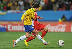 Football - soccer: FIFA World Cup South Africa 2010, Brazil (BRA) - Korea DPR (PRK), tiro gol di Elano