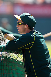 OAKLAND, CA - JUNE 21:  Sam Fuld #23 of the Oakland Athletics looks on during batting practice before the game against the Los Angeles Angels of Anaheim at O.co Coliseum on June 21, 2015 in Oakland, California. The Oakland Athletics defeated the Los Angeles Angels of Anaheim 3-2. (Photo by Jason O. Watson/Getty Images) *** Local Caption *** Sam Fuld