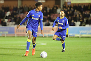 AFC Wimbledon defender Toby Sibbick (20) dribbling during the EFL Trophy match between AFC Wimbledon and Luton Town at the Cherry Red Records Stadium, Kingston, England on 31 October 2017. Photo by Matthew Redman.