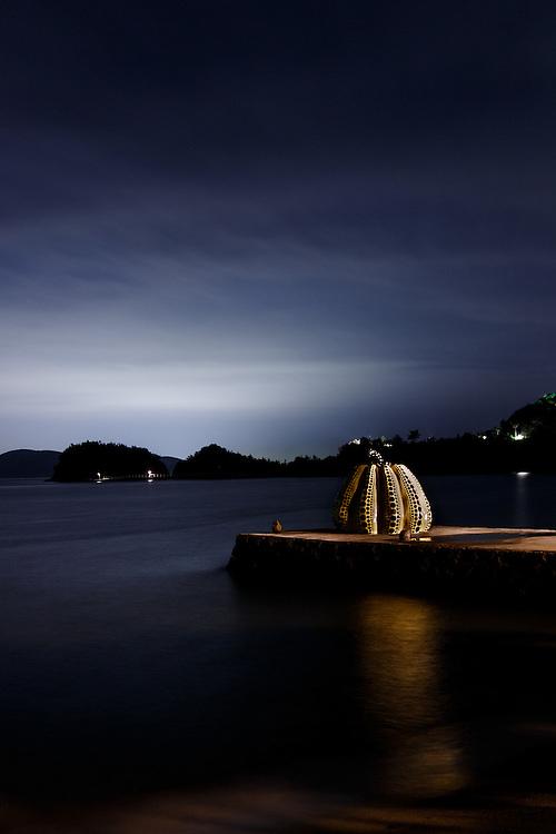 Naoshima, July 2nd 2013 - Yayoi Kusama's yellow pumpkin by night.