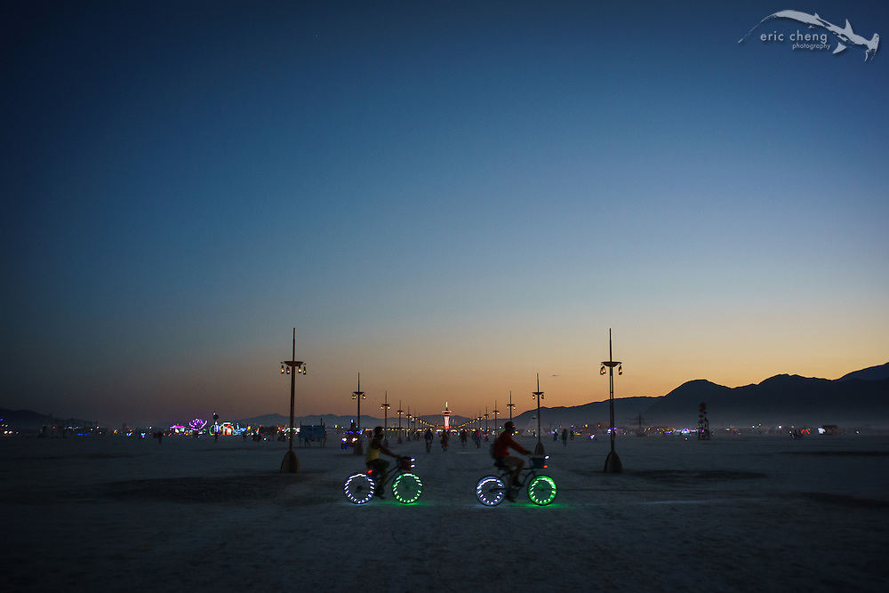 VIew down 6:00 from The Man. Burning Man 2014