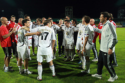 Players of Interblock and coach Dragan Skocic celebrating after Slovenian Supercup between NK Domzale and NK Interblock, on July 9, 2008, in Domzale. Interblock won the mach and Supercup by 7 : 6 after penalty shots. (Photo by Vid Ponikvar / Sportal Images)