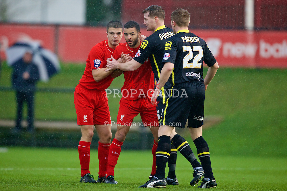 KIRKBY, ENGLAND - Tuesday, January 5, 2016: Liverpool's Tom Brewitt and Kevin Stewart during the Under-21 Friendly match against Morecambe at the Kirkby Academy. (Pic by David Rawcliffe/Propaganda)