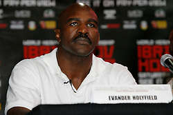 August 30, 2007; New York, NY, USA; Evander Holyfield speaks during the final press conference for his upcoming fight against WBO Heavyweight Champion Sultan Ibragimov.  The two will meet on Saturday, October 13th, at the Khodynka Ice Palace in Moscow, Russia.