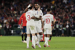 England's Ben Chilwell (L) and Nathaniel Chalobah (R) celebrate the victory during UEFA Nations League 2019 match between Spain and England at Benito Villamarin stadium in Sevilla, Spain. October 15, 2018. Photo by A. Perez Meca/Alterphotos/ABACAPRESS.COM