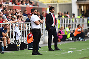 Bristol City manager Lee Johnson and Nottingham Forset manager Aitor Karankaduring the EFL Sky Bet Championship match between Bristol City and Nottingham Forest at Ashton Gate, Bristol, England on 4 August 2018. Picture by Graham Hunt.