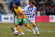 Brighton - Saturday 13th February, 2010: Glenn Murray of Brighton & Hove Albion and Korey Smith of Norwich City during the Coca Cola League One match at The Withdean, Brighton...(Pic by Alex Broadway/Focus Images)
