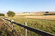 Rolling hills and fields chalk landscape near Beckhampton, Wiltshire, England, UK