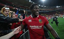 British and Irish Lions Maro Itoje celebrates after the second test of the 2017 British and Irish Lions tour at Westpac Stadium, Wellington.