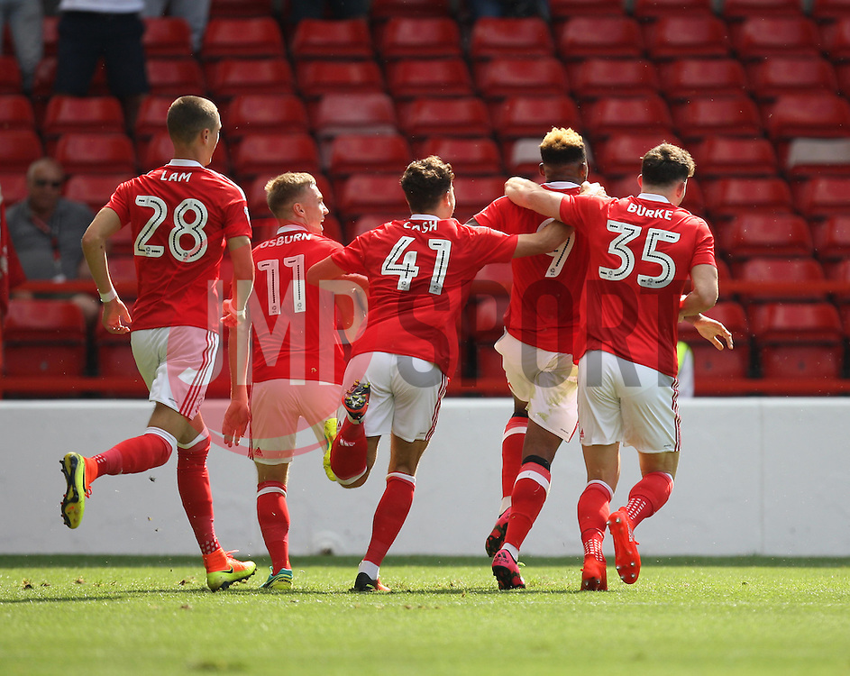 Britt Assombalonga of Nottingham Forest (C) celebrates scoring his sides first goal - Mandatory by-line: Jack Phillips/JMP - 06/08/2016 - FOOTBALL - The City Ground - Nottingham, England - Nottingham Forest v Burton Albion - EFL Sky Bet Championship
