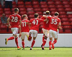 Britt Assombalonga of Nottingham Forest (C) celebrates scoring his sides first goal - Mandatory by-line: Jack Phillips/JMP - 06/08/2016 - FOOTBALL - The City Ground - Nottingham, England - Nottingham Forest v Burton Albion - EFL Sky Bet Championship