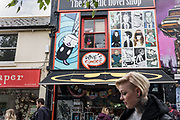 Brighton, East Sussex, England, UK, May 5 2019 - Historical buildings and shops in the North Laine area.