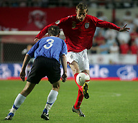 Photo: Paul Thomas.<br /> Estonia v England. UEFA European Championships Qualifying, Group E. 06/06/2007.<br /> <br /> Goal scorer Peter Crouch of England controls the ball.