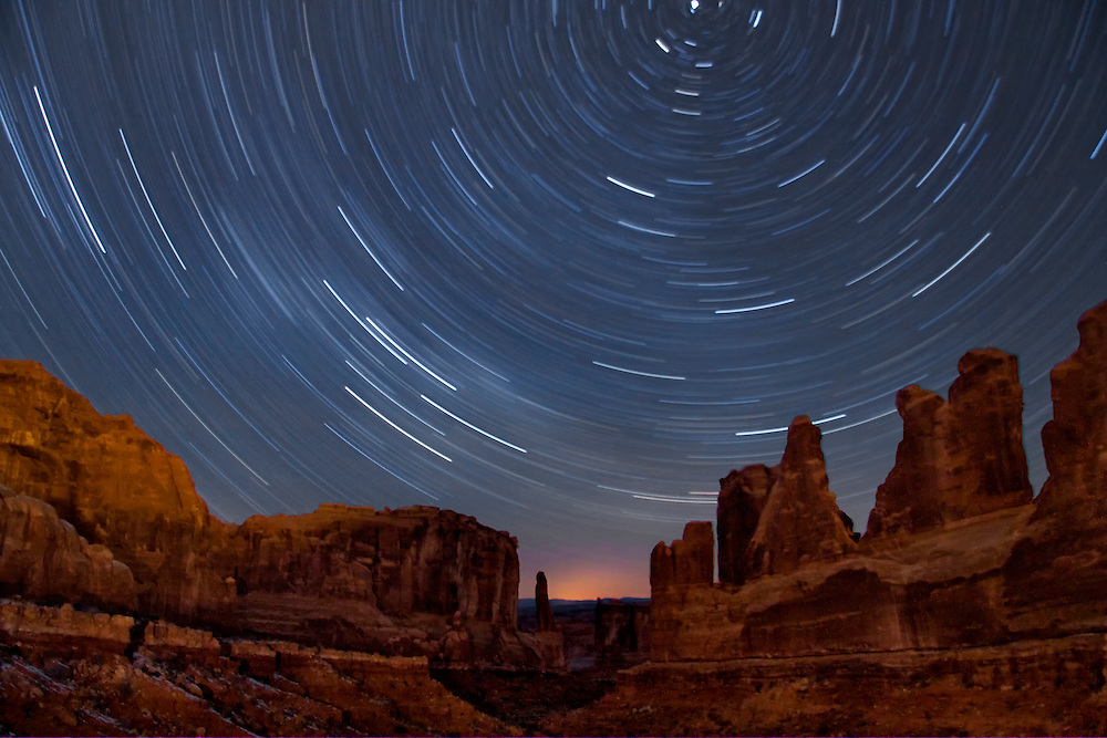 Star trails over Park Avenue, Arches National Park, Moab Utah