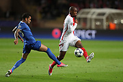 DANI ALVES of Juventus duels for the ball with DJIBRIL SIDIBE of Monaco during the UEFA Champions League semi final football match, 1st leg, between AS Monaco and Juventus FC on May 3rd, 2017 at Louis II Stadium in Monaco - Photo Manuel Blondeau / AOP Press /