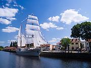 "View of the ""vanishing ship"" Nykstantis Meridianas, in Klaipeda, Lithuania"
