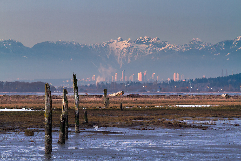 The tidal marsh at Blackie Spit (Crescent Beach) with the skyline of Burnaby and the North Shore Mountains in the background.  Mountains (L to R) include Mount Strachan, Unnecessary Mountain, The Lions, Brunswick Mountain, Cobug Peak, Beauty Peak, and Dam Mountain. Photographed from Blackie Spit in Surrey, British Columbia, Canada.