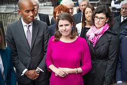 © Licensed to London News Pictures. 30/09/2019. London, UK. Liberal Democrat Leader Jo Swinson stands with fellow MPs Chuka Umunna and Layla Moran as she makes a statement outside Parliament. Earlier a meeting of opposition leaders was held to discuss a plan to force the Prime Minister to go to Brussels to seek another Brexit delay as early as this weekend. Photo credit: Peter Macdiarmid/LNP