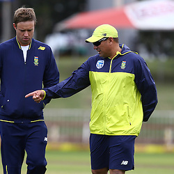 DURBAN, SOUTH AFRICA, 15 August, 2016 - AB De Villiers with Russell Domingo Standard Bank Proteas head coach during the South African national cricket team training session and press conference at the Sahara Stadium Kingsmead Durban, South Africa. (Photo by Steve Haag)<br /> <br /> images for social media must have consent from Steve Haag