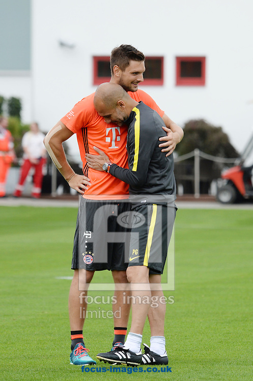 Pep Guardiola, manager of Manchester City jokes with Sven Ulreich of Bayern Munich at Saebener Strasse at Saebener Strasse, Munich, Germany.<br /> Picture by EXPA Pictures/Focus Images Ltd 07814482222<br /> 21/07/2016<br /> *** UK &amp; IRELAND ONLY ***<br /> EXPA-EIB-160721-0079.jpg