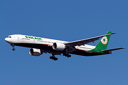 Boeing 777-36N ER (B-16730) operated by EVA Air on approach to San Francisco International Airport (KSFO), San Francisco, California, United States of America