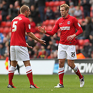 Picture by David Horn/Focus Images Ltd +44 7545 970036.03/11/2012.Michael Morrison of Charlton Athletic congratulates Rob Hulse of Charlton Athletic on scoring the opening goal  during the npower Championship match at The Valley, London.