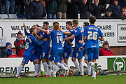 players celebrate the first goal by Hartlepool United striker Scott Fenwick during the Sky Bet League 2 match between Hartlepool United and Wycombe Wanderers at Victoria Park, Hartlepool, England on 16 January 2016. Photo by George Ledger.