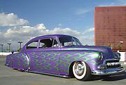Purple Customised Vintage Hotrod car with green flame design, Viva Las Vegas Festival, Las Vegas, USA 2006.