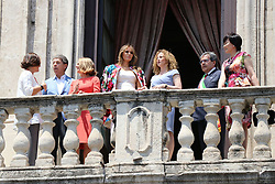 Italy, Catania - May 26, 2017.Taormina G7.First ladies on the balcony of Chierici Palace, part of a visit of the G7 first ladies.Melania Trump,  Brigitte Macron, Akie Abe, Sophie Trudeau and  Joachim Sauer (Credit Image: © Viviano/Ropi via ZUMA Press)