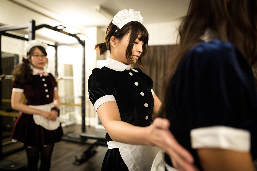 TOKYO, JAPAN - APRIL 2 : Maid gym coach attends a training session during a workshop of gym instructors in Akihabara on April 2, 2017, Tokyo, Japan. Japan is unveiling a gym where you work out with and get coached by maids on one-on-one training assistance. Maid gym is now accepting advance reservation and it will be open first week of May 2017.  (Photo by Richard Atrero de Guzman/NUR Photo)