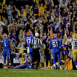 Oct 12, 2019; Baton Rouge, LA, USA; LSU Tigers quarterback Joe Burrow (9) reacts after a touchdown against the Florida Gators during the first half at Tiger Stadium. Mandatory Credit: Derick E. Hingle-USA TODAY Sports