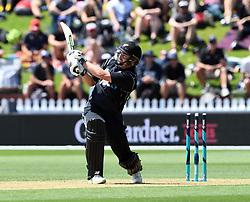 New Zealand's Colin Munro hits a boundary six against Pakistan in the first one day cricket international at the Basin Reserve, Wellington, New Zealand, Saturday, January 06, 2018. Credit:SNPA / Ross Setford  **NO ARCHIVING**