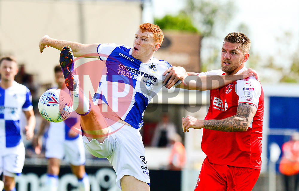 Rory Gaffney of Bristol Rovers challenges for the ball in the air with Ashley Eastham of Fleetwood Town - Mandatory by-line: Dougie Allward/JMP - 26/08/2017 - FOOTBALL - Memorial Stadium - Bristol, England - Bristol Rovers v Fleetwood Town - Sky Bet League One