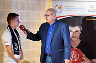 Warsaw, Poland - 2017 May 18: Journalist Michal Olszanski speaks during press conference while the annual Special Olympics European Football Week at Legia Warsaw on May 18, 2017 in Warsaw, Poland.<br /> <br /> Adam Nurkiewicz declares that he has no rights to the image of people at the photographs of his authorship.<br /> <br /> Picture also available in RAW (NEF) or TIFF format on special request.<br /> <br /> Any editorial, commercial or promotional use requires written permission from the author of image.<br /> <br /> Image can be used in the press when the method of use and the signature does not hurt people on the picture.<br /> <br /> Mandatory credit:<br /> Photo by © Adam Nurkiewicz / Mediasport