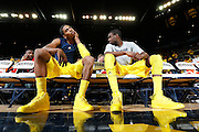 ANN ARBOR, MI - FEBRUARY 5: Glenn Robinson III #1 (left) and Tim Hardaway Jr. #10 of the Michigan Wolverines get ready before the game against the Ohio State Buckeyes at Crisler Center in Ann Arbor, Michigan on February 5. Michigan won 76-74. (Photo by Joe Robbins)