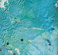blue color ripples art: water like image with blue ripples, green shades,white spots and dark green dots