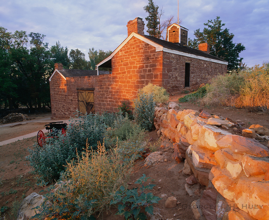 0114-1000B ~ Copyright: George H. H. Huey ~ Winsor Castle at sunrise. Historic Mormon fortified ranch house, built in 1870 on top of valuable spring. Pipe Spring National Historic Site, Arizona.
