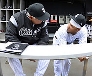 CHICAGO - APRIL 04:  Manager Rick Renteria #17 talks with Jose Abreu #79 of the Chicago White Sox prior to the game against the Detroit Tigers on April 04, 2017 at Guaranteed Rate Field in Chicago, Illinois.  The Tigers defeated the White Sox 6-3.  (Photo by Ron Vesely)   Subject:  Rick Renteria; Jose Abreu