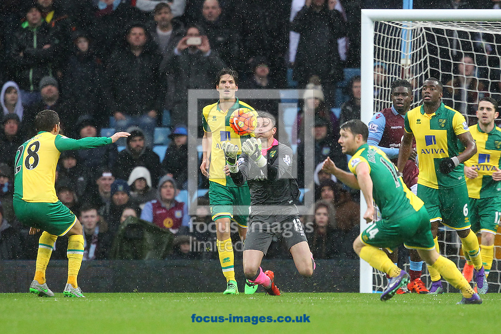 Declan Rudd of Norwich in action during the Barclays Premier League match at Villa Park, Birmingham<br /> Picture by Paul Chesterton/Focus Images Ltd +44 7904 640267<br /> 06/02/2016