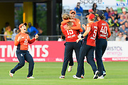 Wicket - Sophie Ecclestone of England celebrates taking the wicket of Meg Lanning of Australia during the 3rd Vitality International T20 match between England Women Cricket and Australia Women at the Bristol County Ground, Bristol, United Kingdom on 31 July 2019.