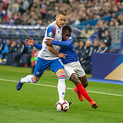 PARIS, FRANCE - March 25:  Sverrir Ingi Ingason #5 of Iceland is tightly marked by Blaise Matuidi #14 of France during the France V Iceland, 2020 European Championship Qualifying, Group Stage at  Stade de France on March 25th 2019 in Paris, France (Photo by Tim Clayton/Corbis via Getty Images)