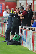 Accrington Stanley Manager, John Coleman  and Scunthorpe United Recently Appointed Manager, Stuart McCall during the EFL Sky Bet League 1 match between Accrington Stanley and Scunthorpe United at the Fraser Eagle Stadium, Accrington, England on 1 September 2018.
